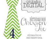 4th Birthday Tie Green and Navy Chevron Printable DIY Iron On Tie Decal, baby, boys, Iron on tie for bodysuits tshirts
