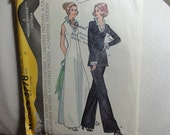 1973 Evening Gown, Ruffled Collar Maxi Dress or Tunic Top, Pants- Vintage 70's McCall's Sewing Pattern 3778- Miss Size 14 Bust 36 CUT
