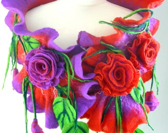 Felted, Wool Jewelry felted woman ART scarf  ,shawl-Midnight rose  -