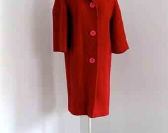 Vintage 50's Wool Boucle Swing Coat Lipstick Red I Love Lucy Red Webb's Glendale Med-Lrg