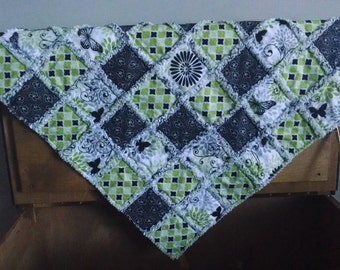 Green Butterfly Rag Quilt Security Blanket Set
