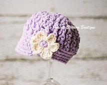Purple Crochet Toddler Hats, Girl's Newsboy Hat, Toddler Girl Hat, Crochet Hat for Toddler, Cotton, 12 Months to 4T