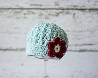 Crochet Hat for Toddlers, Crochet Toddler Hats for Girls, Newsboy Hat with Flower, Robin's Egg Blue, 12 Months to 4T