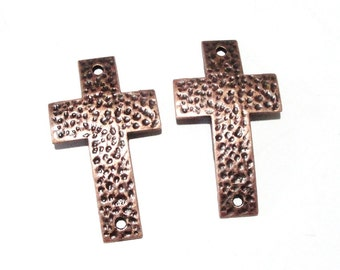 Copper Cross Bracelet Connector - Hammered Cross Curver Link - Cross Sideways - Cross Charm Pewter 4 Pcs - DIY Findings Jewelry Components