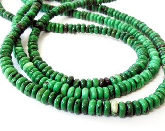 """Green Rondelle Beads - Chinese Turquoise Beads - Small Dark Round Drilled - Semipricious Stone - Jewelry Making - 16"""" - 6mmx3mm - XinJing"""