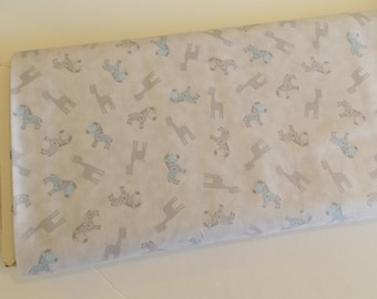 QT  Special Delivery -baby zebras blue gray fabric baby crib.