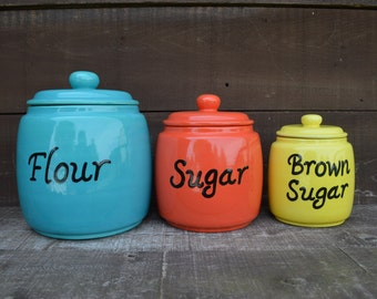 Custom Set of 3 Kitchen Canisters - Pick your Colors and Labels - Flour, Sugar, Brown Sugar - XL, L, M