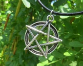 Large Pentacle Pendant, Pewter Charm, 5 Pointed Star, Witchcraft Wicca, Pentagram Necklace,Earth, Air,Fire, Water and Spirit