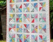 Baby Quilt / Pinwheel Quilt / Patchwork Quilt / 42 x 50 inches / Hand-Quilted / Scrappy / 1930s Feesack Reproduction Fabric / New Baby Gift