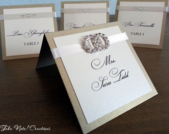 SALE / Place Cards /Escort Cards - With ribbon & double ring buckle