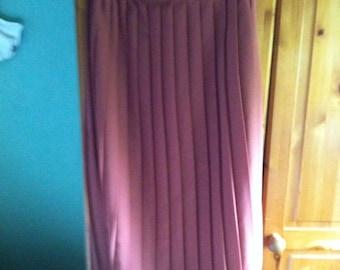 Sale Vintage 80s Pleated Midi Skirt Russet Rust Caramel