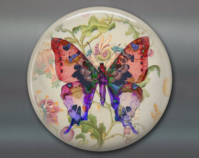 "3.5"" butterfly refrigerator magnet butterfly decor, cottage chic spring decor, kitchen decor, large magnet stocking stuffer MA-360"