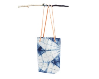 Marfa Tote : Natural Indigo Dyed Selvage Denim with Leather Straps in Isis Pattern