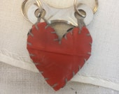simple black & red chainplate heart