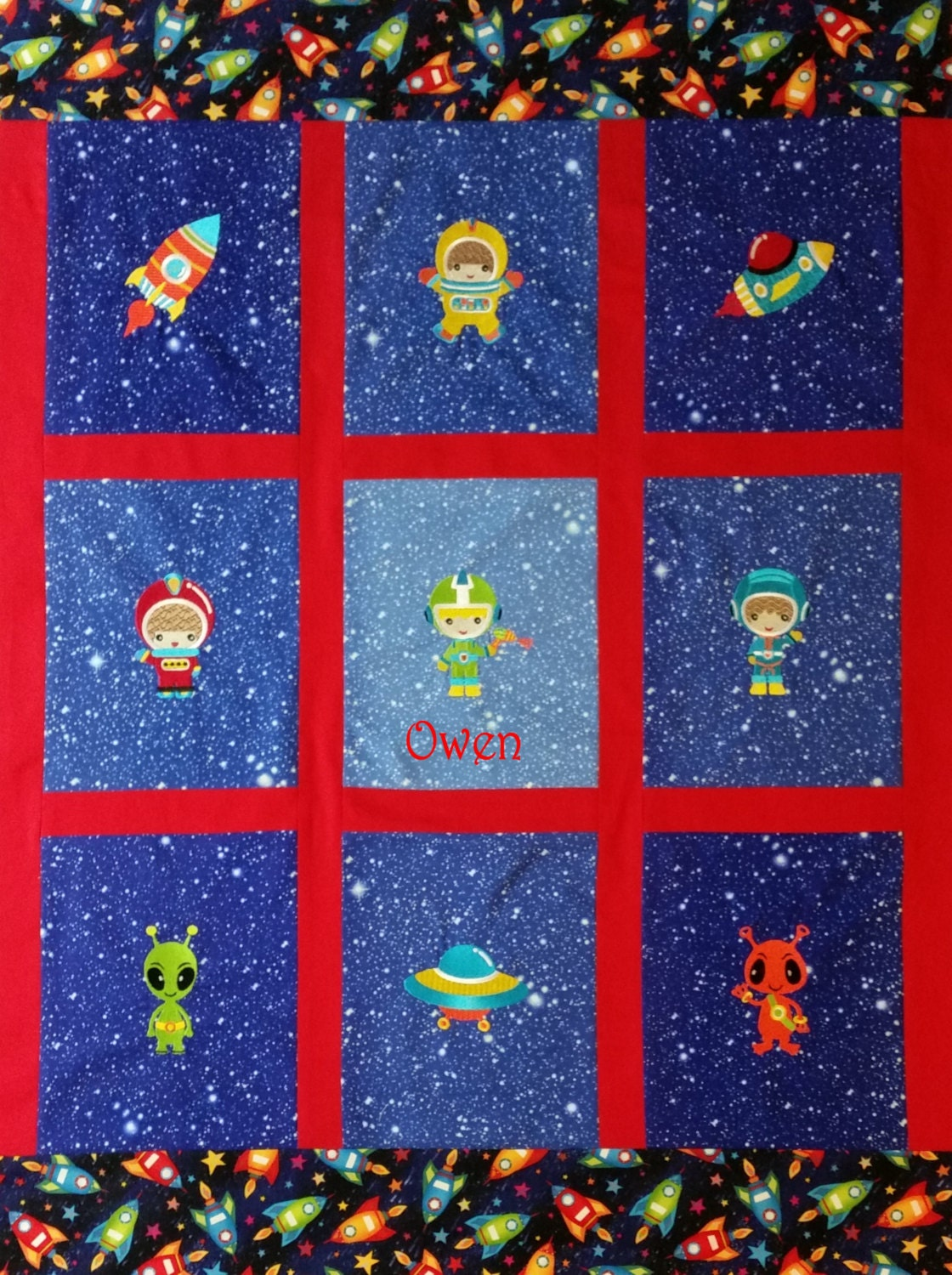 Embroidered out of space baby toddler quilt custom fabrics for Space fabric quilt