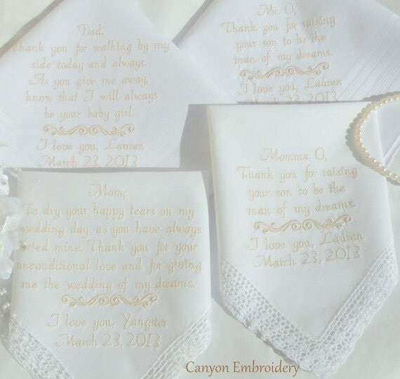 Wedding Gift Ideas Embroidered : Wedding Gift Wedding Day Gifts Embroidered Wedding Handkerchiefs Gifts ...