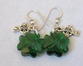 Swarovski 4 Leaf Clover Celtic Cross Earrings Sterling Silver