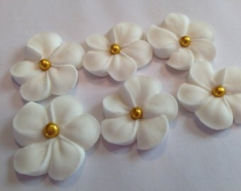 LOT of 100 WHITE  Royal Icing Flowers w/ gold sugar balls for Cake Decorating