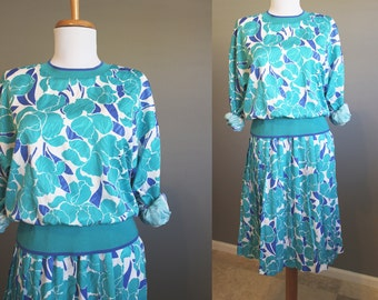 Teal Dress Vintage Floral White Satin Slouchy 1980s Medium