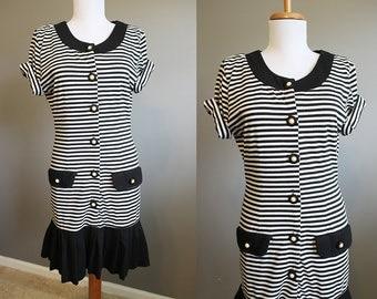 Stripe Dress Vintage Black and White Tshirt Knit Large