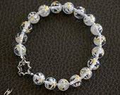 White Crystal and Yellow Flowers Lamp work Glass Bracelet with Sterling Silver, Fashion Bracelet, designbybehin