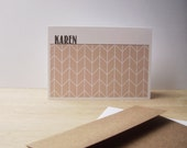 Personalized Note Cards - Geometric Stationery Set, Modern Herringbone Note Cards, Personalized Chevron Thank You Notes, Pale Apricot White