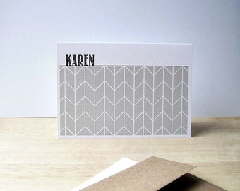 Personalized Note Cards - Geometric Stationery Set, Modern Herringbone Note Cards, Personalized Chevron Thank You Notes, Pale Sage Green
