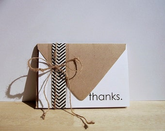 Thank You Notes - Modern Thank You Card Set, Simple Thanks, Typography Stationery, Minimalist Design, White Black Thank You Cards, Thanks
