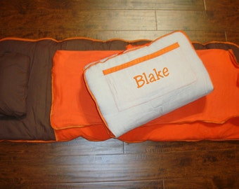 Brown and Orange Nap Mat personalized Large Size Including Blanket, Pad, and Pillow