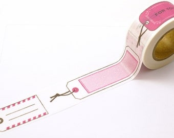 Washi tape FOR YOU Dark PINK Mock Gift tags, Shipping Labels, Parcel Tags - Wide Washi Masking Tape-16.5 Yards
