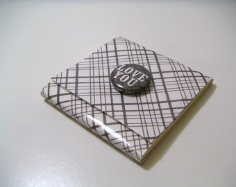 Gray and White Plaid Sticky Notes Pad with Gray Button - Love You