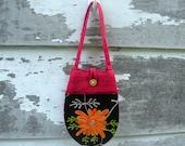 Vintage Cloth Handbag, Boho Embroidered Shoulder Bag, Red And Black Canvas, Like New