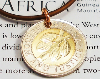Ghana, Authentic Coin Necklace - - Hot Cocoa - - Africa - Travel - Agriculture - World Trade - Chocolate