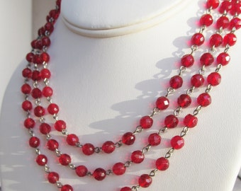 Ruby red beaded necklace classic triple strand red glass beads with exquisite detailed silver clasps lobster claw