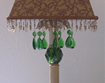 VICTORIAN GOLD  Table Lamp With Green Crystals/ Boudoir Lamp