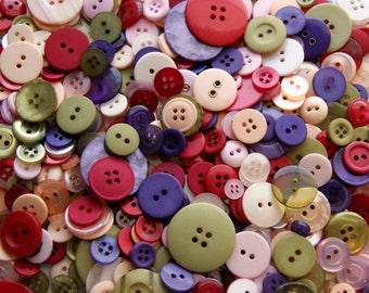 50 Buttons, Pink Purple Green Burgundy Melon Assorted Buttons, Woodland Fairy Button Mix,   (1597)