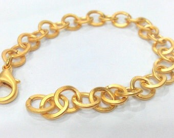 9 mm Gold Plated  Bracelet Chain Findings, G2089