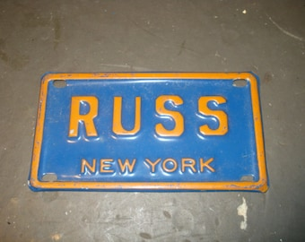 Vintage Mini License Plate New York RUSS