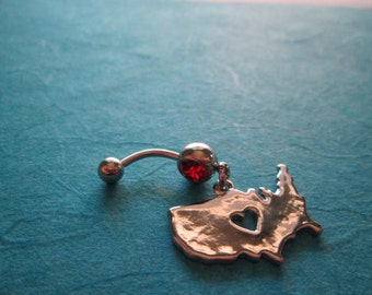 I Love America belly button ring, body jewelry belly ring