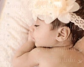 Ivory Chiffon Flower Lace Headband, Baby Headband, Newborn Headband