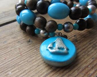 Sail Boat Beaded Bracelet, Blue Beaded Bangle Bracelet, Wooden Beaded Bracelet, Upcycled Jewellery, Nautical Bracelet, Recycled Jewelry