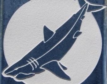 4x4 Great White Shark Tile - Etched Porcelain Tile Coaster - SRA