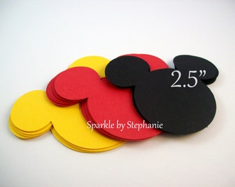 """Mickey Head Die Cuts l Mickey Mouse Party Decoration l Mickey Baby Shower l Mickey Party Supplies l Mickey Birthday Party l Set of 12 - 2.5"""""""