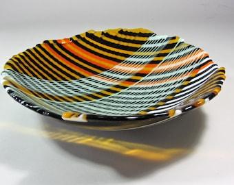 Tiger Stripe Glass Bowl OOAK Fused Glass 12 inch Bowl Orange White Black Celadon Amber