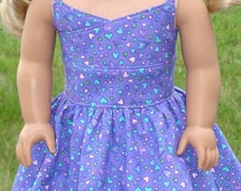 Purple Heart Print Sundress For American Girl Or Similar 18-Inch Dolls