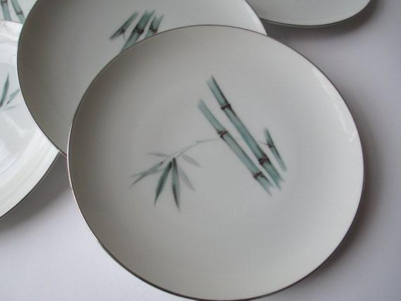 Vintage Sango Bamboo Teal and Pink Salad Plates Set of Six