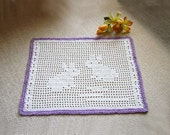 Bunny Rabbits Filet Crochet Lace Doily, Table Decor, Woodland