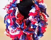 Patriotic Crochet Scarf Memorial Day Fourth of July Red White Blue Women's Scarf Sports Team Scarf