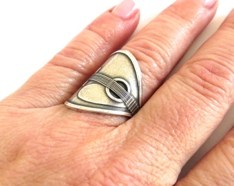 Steampunk Mandolin Ring- Sterling Silver Ox Finish or Antiqued Brass Ox Finish