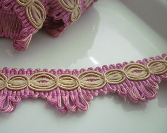 Art silk trim, pink and oatmeal edging trim,  Moroccan decor  3 metres